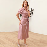 Load image into Gallery viewer, Elegant Puff Sleeve Belted Satin Wrap Dress - WOMENEXY