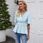 Load image into Gallery viewer, Elegant Surplice Front Ruffle Hem Peplum Blouse - WOMENEXY