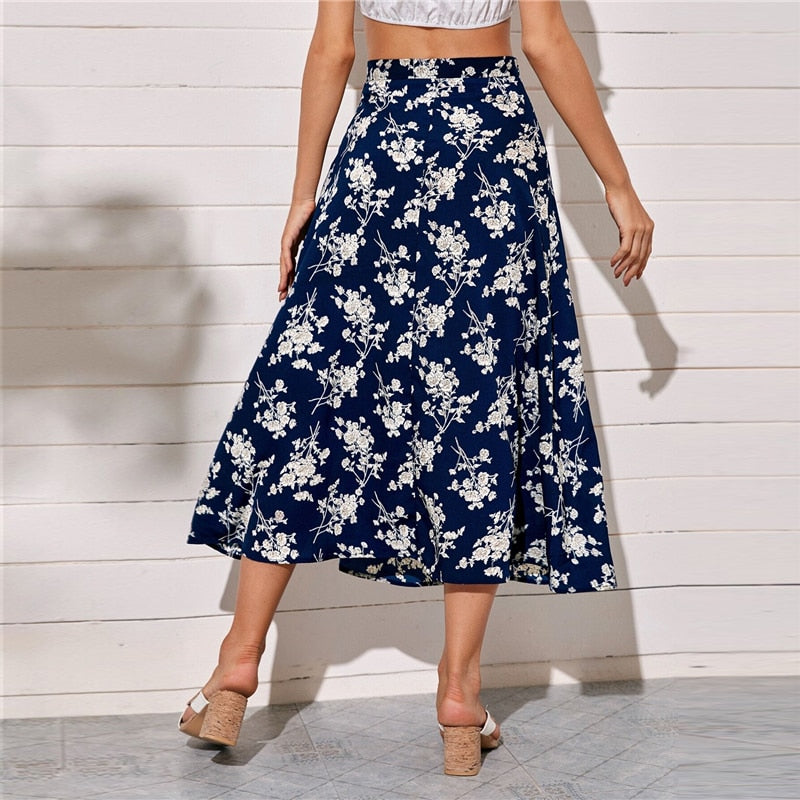 Bohemian Split Thigh Floral Print Long Skirts - WOMENEXY