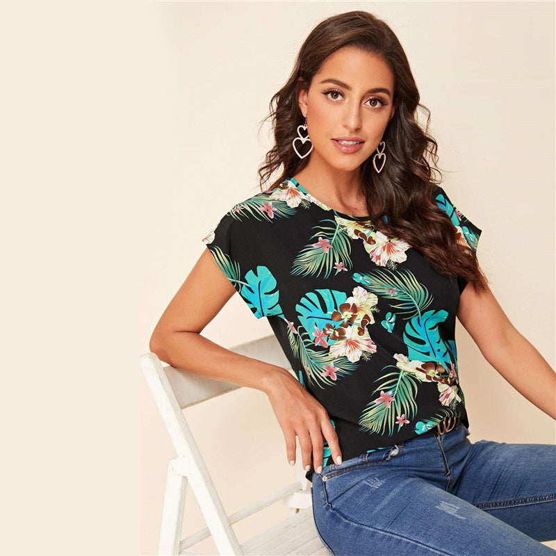 Casual Tropical Print Batwing Sleeve Top - WOMENEXY