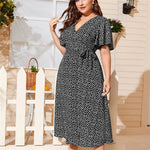 Load image into Gallery viewer, Ditsy Floral Knot Side Wrap Plus Size Dress - WOMENEXY