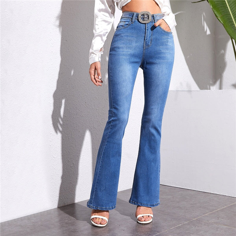 Vintage Bleached Wash Flare Leg Jeans - WOMENEXY
