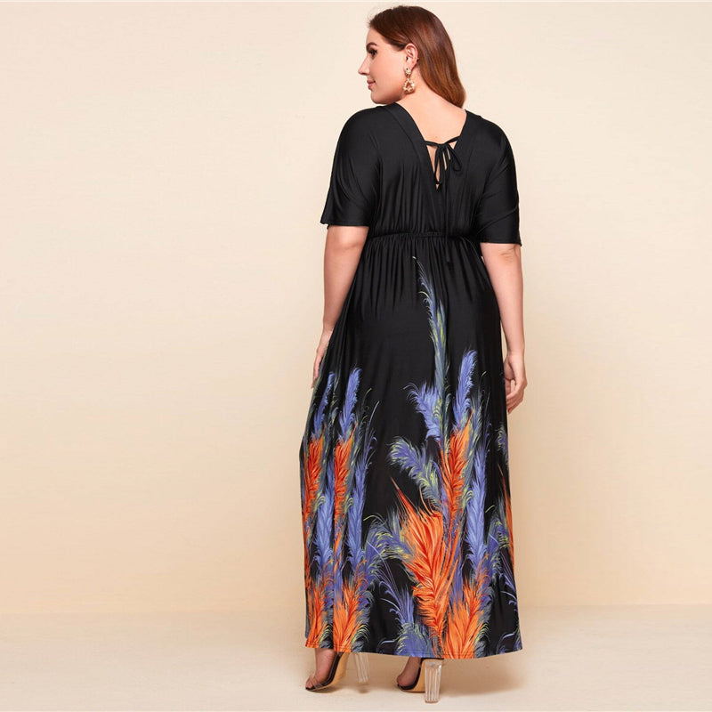 Elegant Feather Print Ruched Batwing Sleeve A-Line Plus Size Dress - WOMENEXY