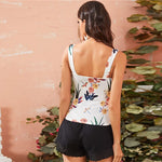 Load image into Gallery viewer, Cute Crisscross Front Floral Print Tank Top - WOMENEXY