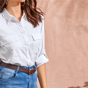 Casual Flap Pockets Roll Up Sleeve Utility Blouse - WOMENEXY