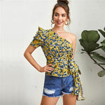 Load image into Gallery viewer, Boho One Shoulder Puff Sleeve Belted Floral Top - WOMENEXY