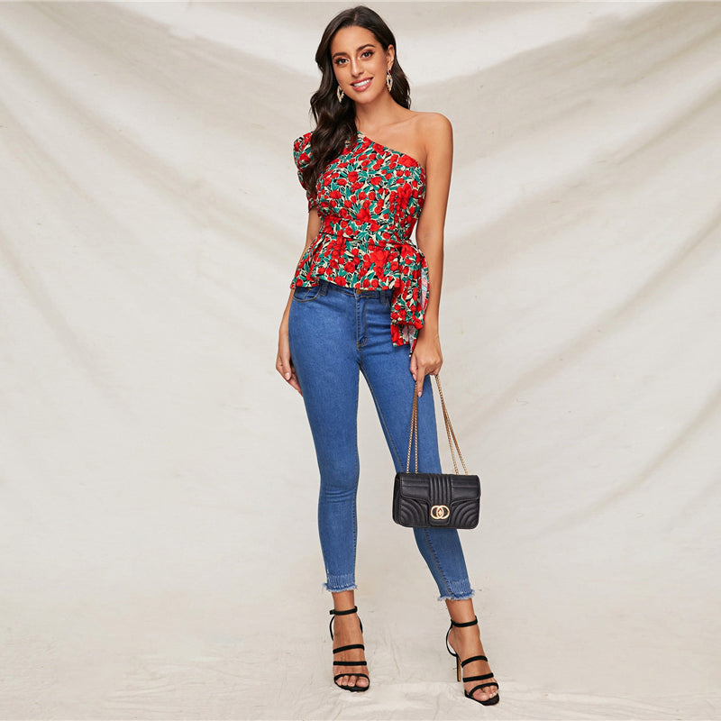 Boho One Shoulder Puff Sleeve Belted Floral Top - WOMENEXY