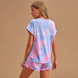 Casual Tie Dye Short Sleeve Tee and Frill Hem Shorts PJ Set - WOMENEXY