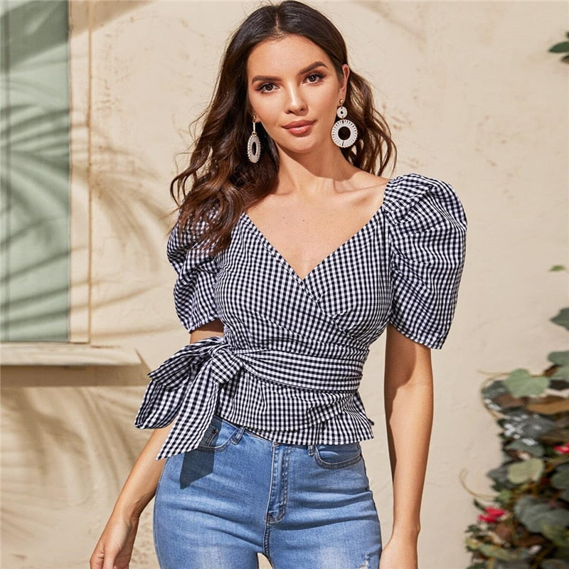 Elegant Gingham Print Wrap Belted Puff Sleeve Blouse - WOMENEXY