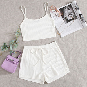 Casual Rib-Knit Crop Cami Top and Knot Wide Leg Shorts - WOMENEXY