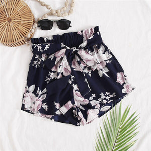 Casual Paperbag Waist Floral Print Belted Shorts - WOMENEXY
