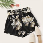 Load image into Gallery viewer, Casual Paperbag Waist Floral Print Belted Shorts - WOMENEXY