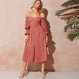 Boho Cold Shoulder Shirred Detail Buttoned Front Dress - WOMENEXY