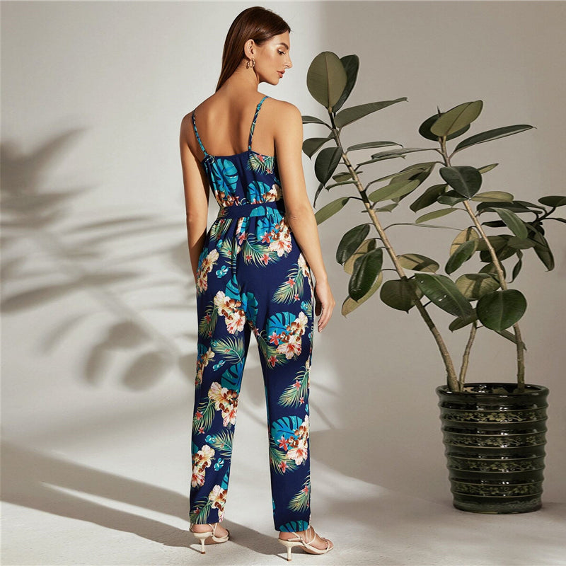 Boho Surplice Neck Self Belted Tropical Cami Jumpsuit - WOMENEXY