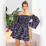 Load image into Gallery viewer, Boho Off Shoulder Shirred Floral Print Dress - WOMENEXY