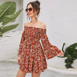 Boho Off Shoulder Shirred Floral Print Dress - WOMENEXY