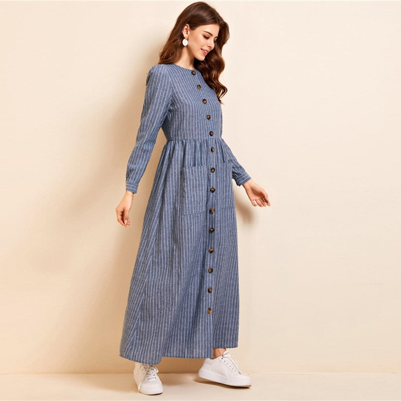 Abaya Button Front Pocket Patched Striped Dress - WOMENEXY