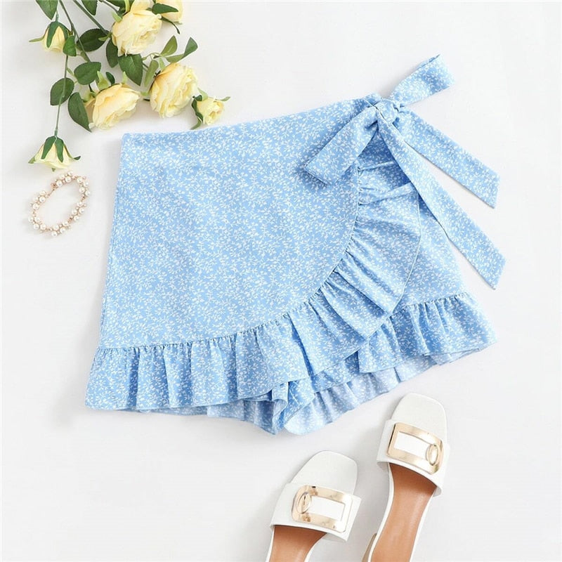 Casual Tie Side Ruffle Hem Wrap Knotted Skirt - WOMENEXY