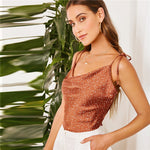 Load image into Gallery viewer, Cute Tied Shoulder Cowl Neck Polka Dot Cami Satin Crop Top - WOMENEXY