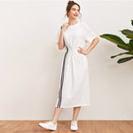Load image into Gallery viewer, Casual Drop Shoulder Striped Tape Front Drawstring Waist Dress - WOMENEXY