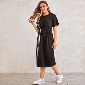 Casual Drop Shoulder Striped Tape Front Drawstring Waist Dress - WOMENEXY
