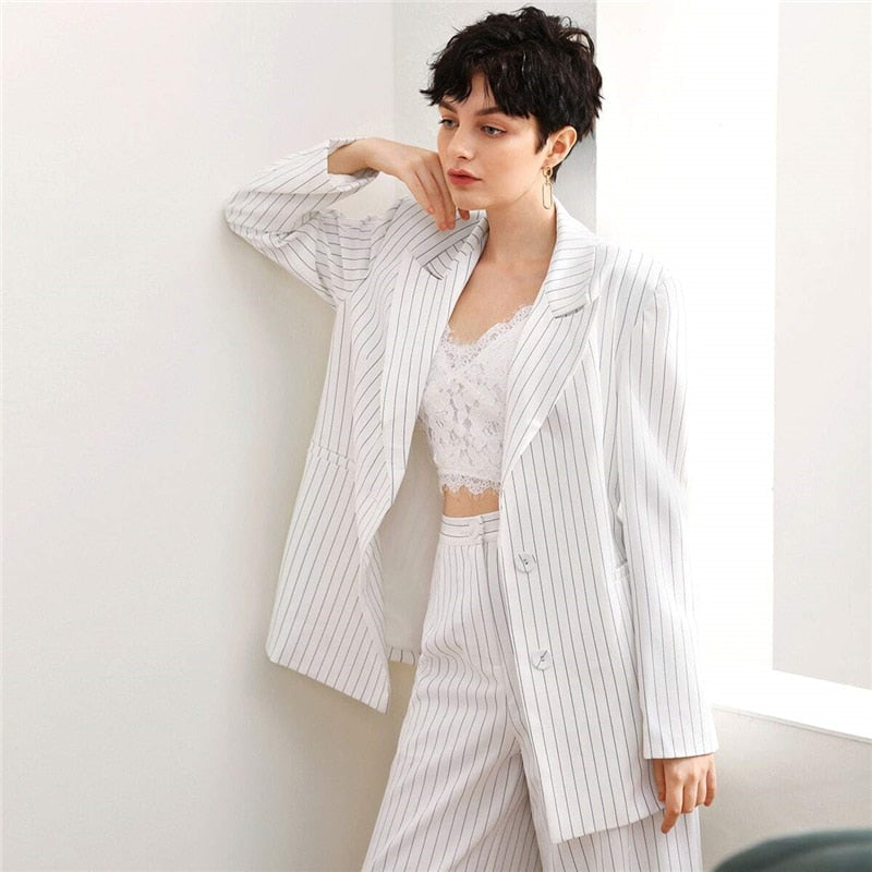 Casual Peak Collar Pocket Detail Striped Blazer - WOMENEXY
