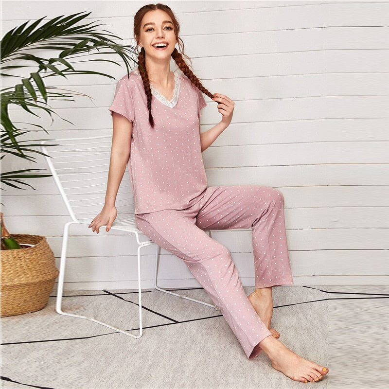 Cute Polka Dot Contrast Lace Pajama Sets - WOMENEXY