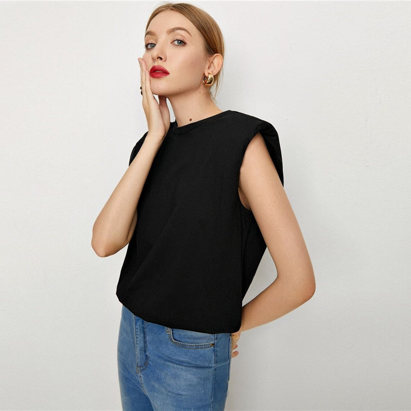 Casual Padded Shoulder Oversized Tank Top