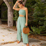 Load image into Gallery viewer, Bohemian Shirred Tube Crop Top and Long Crinkle Pants
