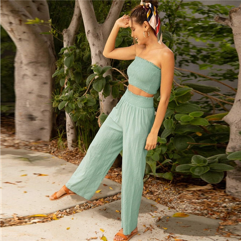 Bohemian Shirred Tube Crop Top and Long Crinkle Pants