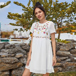 Load image into Gallery viewer, Boho Floral Embroidery Swiss Dot Smock Dress