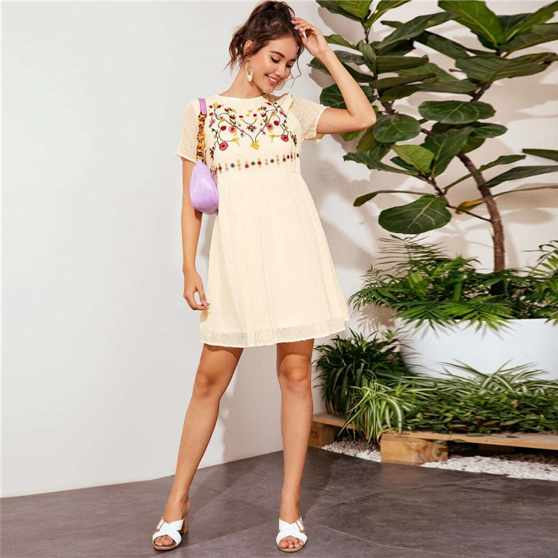 Boho Floral Embroidery Swiss Dot Smock Dress