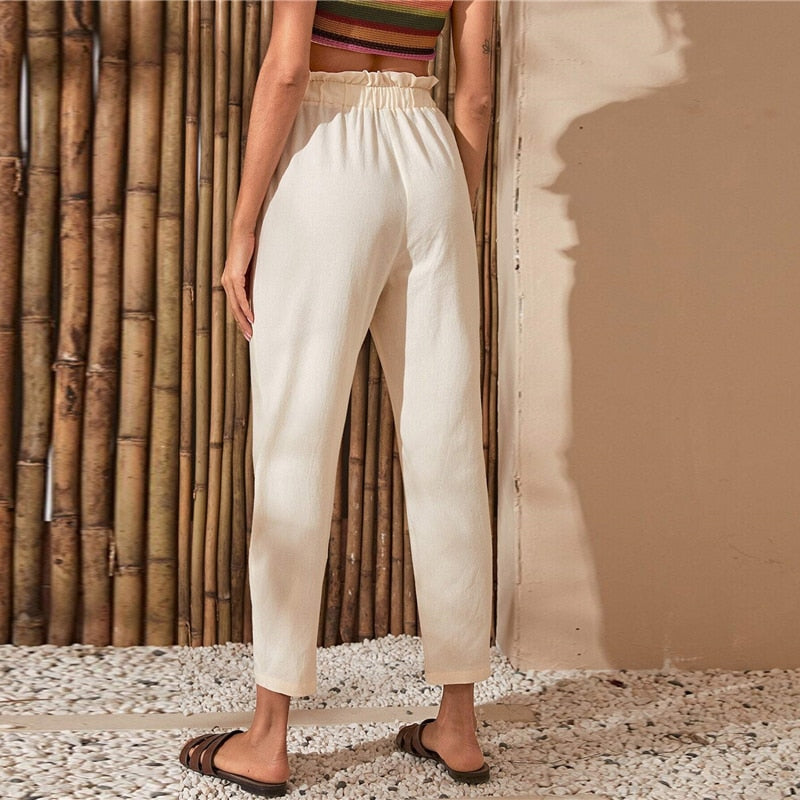 Casual Paperbag Waist Button Front Cropped Pants