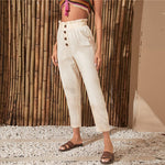 Load image into Gallery viewer, Casual Paperbag Waist Button Front Cropped Pants