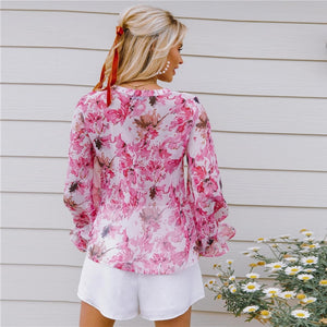 Bohemian Ruffle Trim Floral Autumn Top