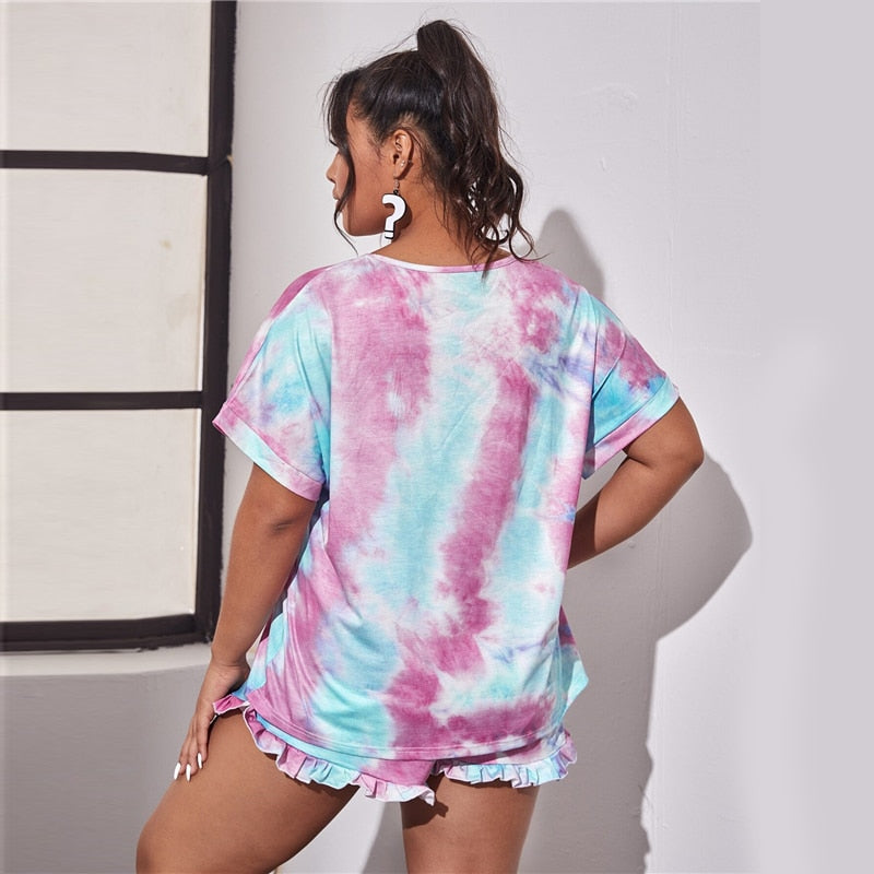 Casual Tie Dye Round Neck Tee and Frill Trim Shorts Plus Size Pajama Sets