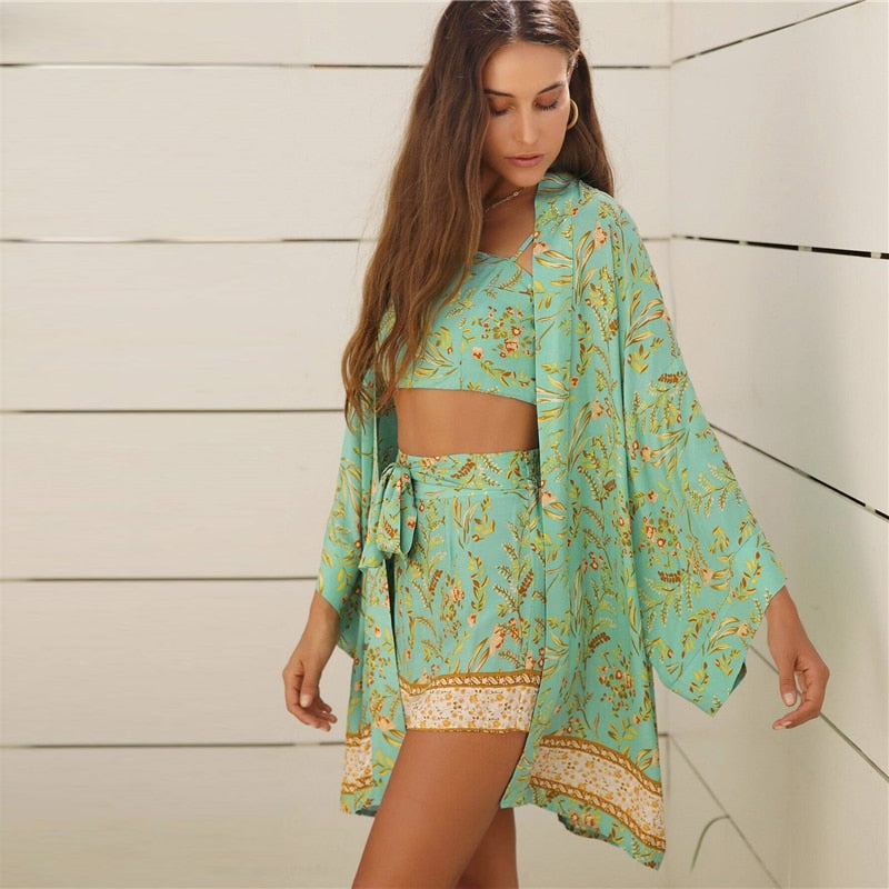 Boho Botanical Print Crop Cami Top and Tie Front Shorts Set with Kimono Outfits