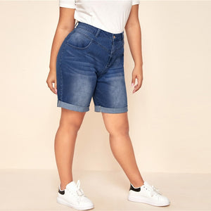 Casual Roll Up Hem Denim Bermuda Plus Size Shorts
