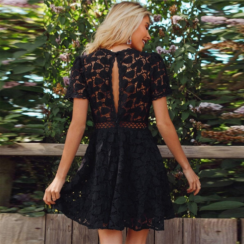 Boho Guipure Lace Split Back Mini Dress