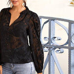 Load image into Gallery viewer, Elegant Ruffle Trim Buttoned Front Appliques Mesh Top