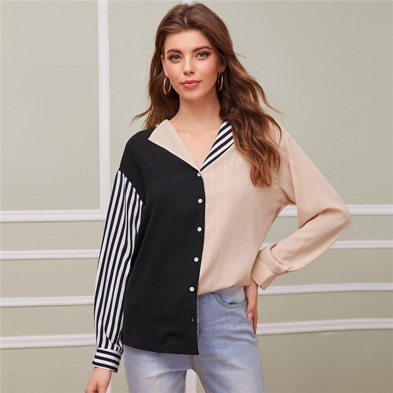 Abaya Collared Striped Colorblock Blouse