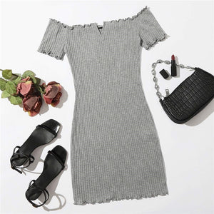 Casual Off Shoulder Notched Neck Lettuce Trim Rib-Knit Pencil Dress