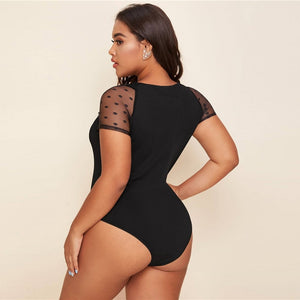 Elegant Dobby Mesh Sheer Sleeve Ruched Front Plus Size Bodysuit