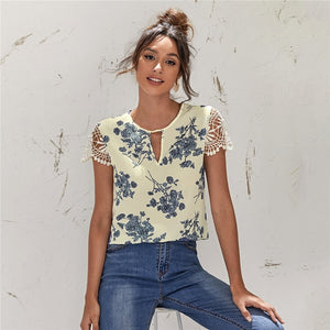 Casual Keyhole Neck Guipure Lace Sleeve Floral Top