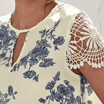 Load image into Gallery viewer, Casual Keyhole Neck Guipure Lace Sleeve Floral Top