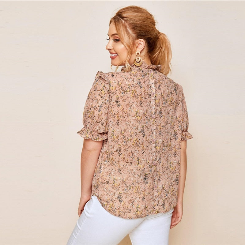 Elegant Frill Trim Puff Sleeve Ditsy Floral Plus Size Top