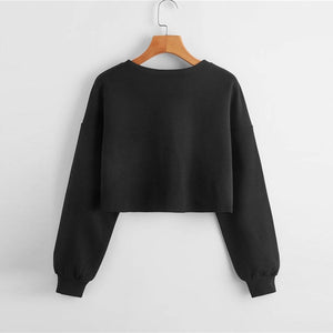 Casual Drop Shoulder Frayed Edge Crop Sweatshirt