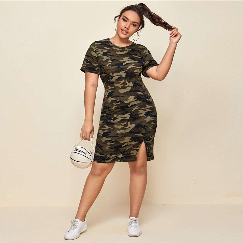Casual Split Hem Camo Plus Size Dress