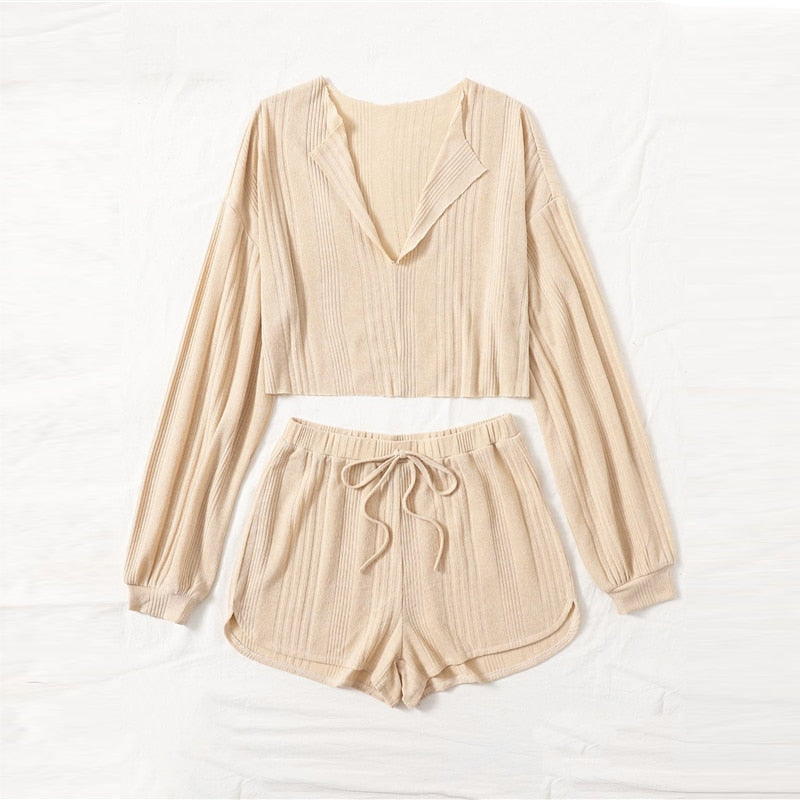 Casual Drop Shoulder Notched Neck Top and Shorts Set