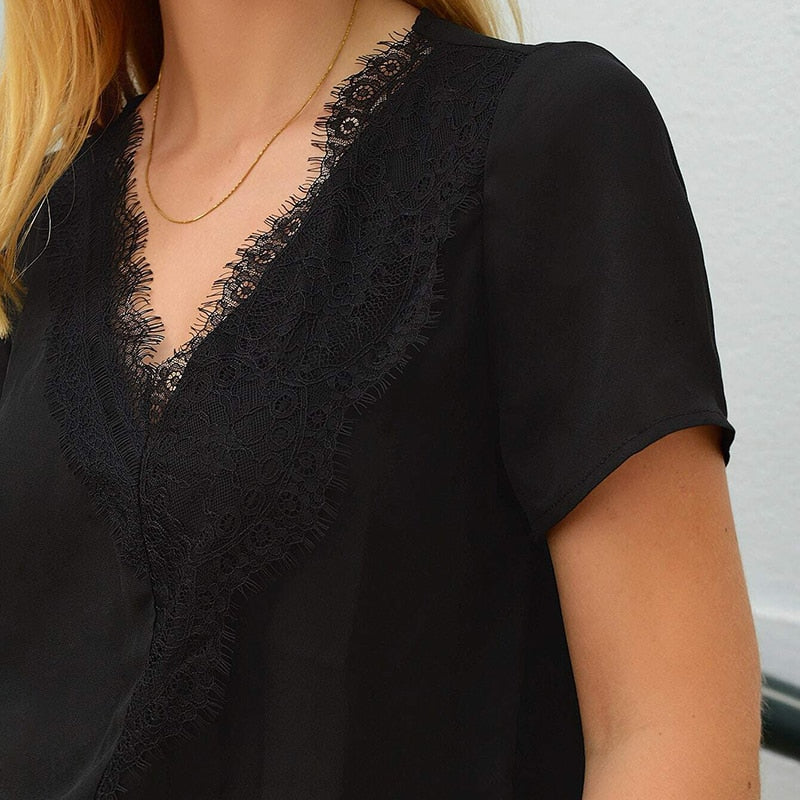 Casual V-Neck Eyelash Lace Trim Top